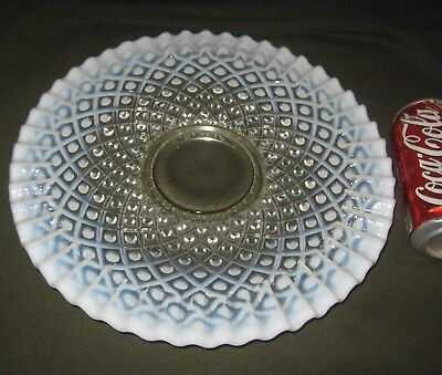 Large Antique Vintage Fenton Usa White Opalescent French Cake Plate Tray Platter