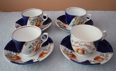 4 Antique Gaudy Welsh Tulip Cups & Saucers