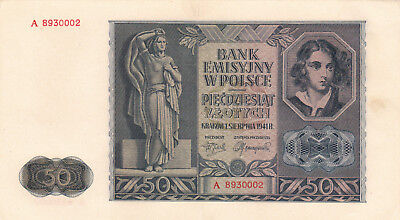 50 Zlotych Extra Fine+ Banknote From German Occupied Poland 1941!pick-102!!