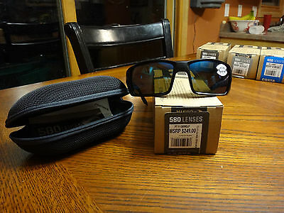 New Costa Permit Sunglasses 580G Blue Mirror, Matte Black Nylon PT11OBMGLP