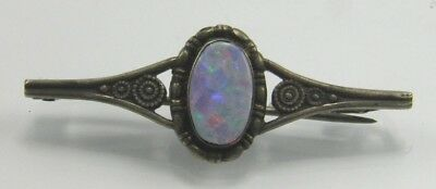 Early 20th century Arts & Crafts sterling silver & opal brooch pin marked M
