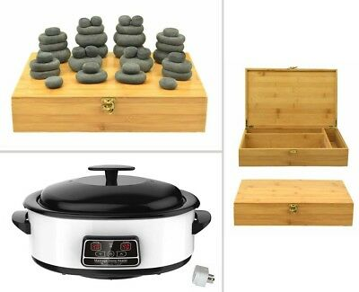 HOT STONE MASSAGE KIT: 36 Basalt Stones (in Wood Box) + 6 Litre Digital Heater