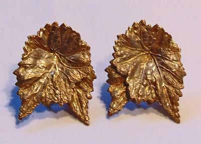 A Vintage Pair Of Shiny Gold Tone Leaf Earrings Signed *miriam Haskell*