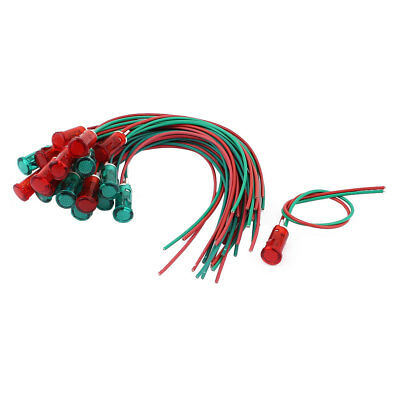 10 Pair AC 110/220V 2 Wire Red Green Pilot Signal Indicator Light