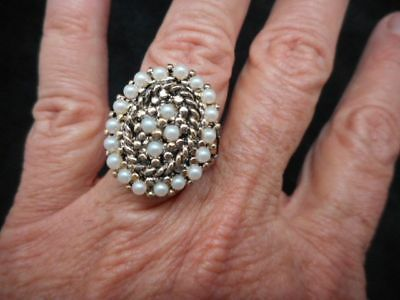 Authentic Vintage 1960's Gold Tone Faux Pearl Ring Adjustable