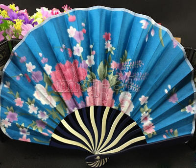 Vintage Chinese Japanese Pocket Folding Flower Silk Bamboo Hand Fan Party Gift