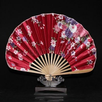 Chinese Japanese Folding Red Silk Hand Held Flower Bamboo Pocket Fan Decor Gift