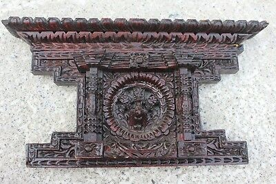 Stunning Antique Carved Sculpted Wood Wooden Ornate Ornamental Small Pediment