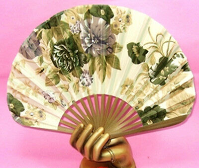 Bamboo Folding Silk HAND FAN with Flowers Wedding Party Gift GREEN