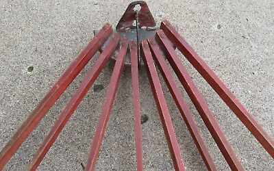 Antique Wooden Wall Mount Drying Rack 8 Spindles, Old Desirable Red Paint