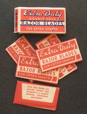Vintage Made in USA Razor Blade EXTRA DUTY Full Pack of 5 - Seldom Seen