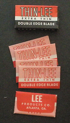 Vintage Made in USA Razor Blade THIN-LEE EXTRA THIN Full Pack of 5 - Seldom Seen