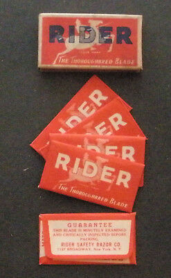 Vintage Made in USA Razor Blade RIDER Full Pack of 5 - Seldom Seen