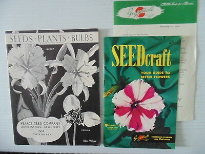 1954 Seed Craft with Envelope Letter + 1956 Pearce Seed Company Catalogs