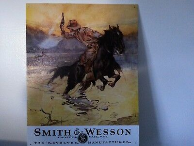 Smith Wesson Sign Old West Hostiles SW  Vintage Metal Advertising Tin New USA