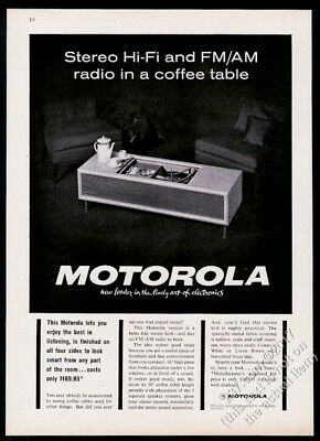 1963 Motorola hi fi stereo in mid-century modern table photo vintage print ad