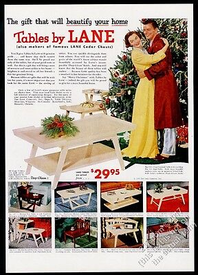 1953 Lane furniture modern table 8 models color photo vintage Christmas print ad