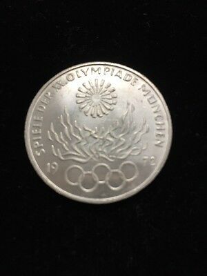 1972-G Germany Silver 10 Mark Munich Olympic Flames Uncirculated