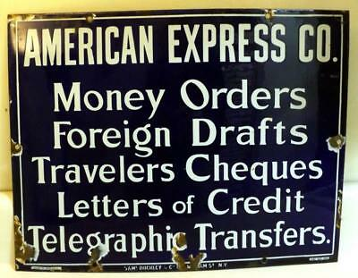 Antique AMERICAN EXPRESS 13x17 inch Porcelain Sign w Services Offered c1920s