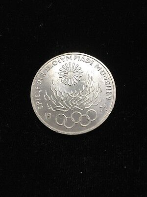 1972-J Germany Silver 10 Mark Munich Olympic Flames Uncirculated