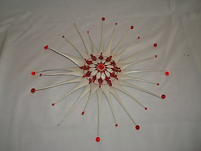 Antique Metal Tramp Art Primitive Wall Star Flower Made From Old Oil Can Ooak