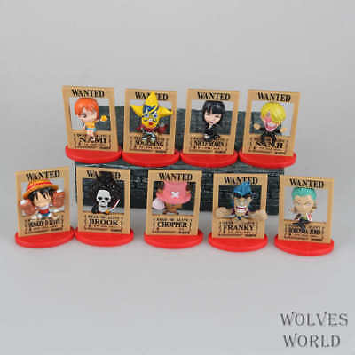 """Set 9pcs One Piece Arrest Instructions Wanted Toy Figure 4"""" New Without Box"""