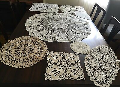CROCHET 23 Assorted Doilies & 74cm Round Centrepiece - Lovely Cond