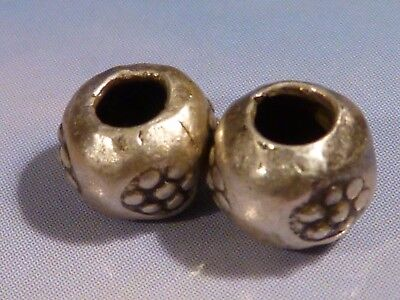2-CUSTOM STERLING SILVER HEAVY 7 EYE BEADS FAMOUS IN THAILAND 6.5 BY 5.5mm