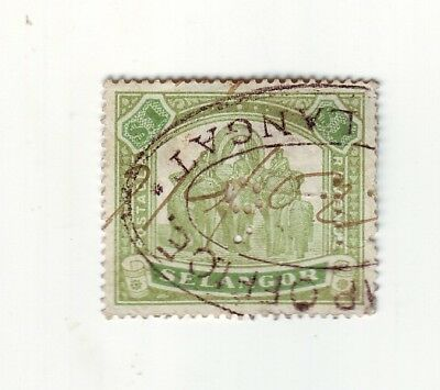 ASIA * OLD TROPICAL ISLAND of SELANGOR * LOCAL ELEPHANT HUNTING STAMP $1.00 USED