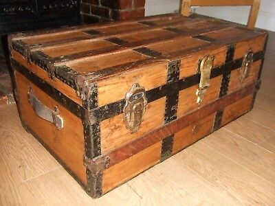 ANTIQUE PINE CABIN TRUNK Old Chest Iron fittings VINTAGE LUGGAGE CHEST  Table