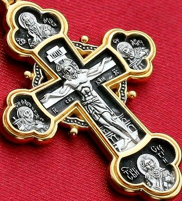 Big. Russian Greek Orthodox Crucifix,Silver 925+.999 Gold. Precious Cross Prayer