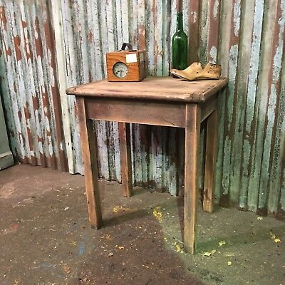 Old Pitch Pine school vintage childrens  desk shabby chic rustic Lamp Table