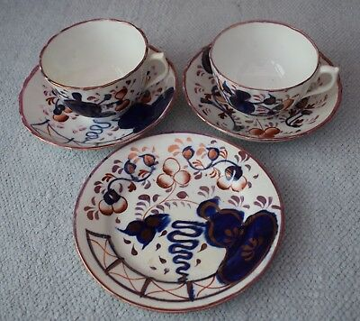 2 Antique Gaudy Welsh Oyster Cups & Saucers plus Tea Plate - Lustre trim
