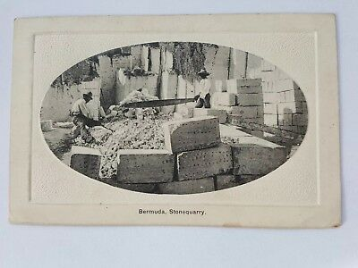 Postally Used Bermuda Postcard - Stone Quarry with 1d War Tax on Bahamas Stamp.