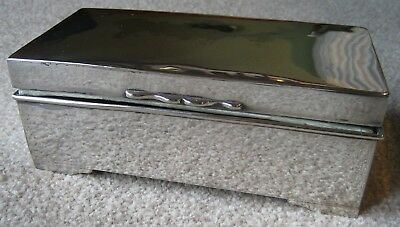 Art Deco Silver Plated Cigarette Box with Silk Lining c.1930's