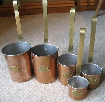 Vintage Copper Ladles or Scoops – Set of 5 – With Brass Handles