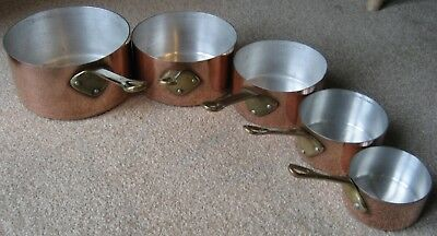 Vintage Copper Saucepans – Set of 5 – With Brass Handles