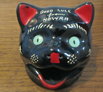 Rare! Old Wa Wembley Ware Black Cat Ashtray Nowra New  South Wales Souvenir!