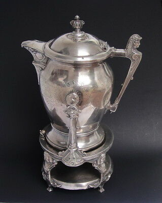 Large  Antique  Victorian Egyptian Revival Silver Plate Water Pitcher Vase