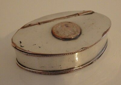 Georgian / Early Victorian Silver Plate Snuff/trinket Box