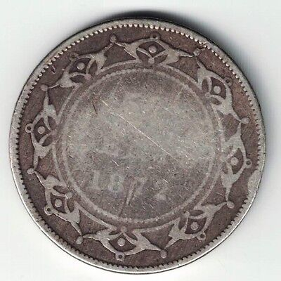 Newfoundland 1872H 50 Cents Half Dollar Victoria Sterling Silver Canadian Coin