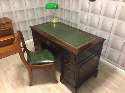 Antique Style Green Leather Top Writing Desk & Chesterfield Chair FREE UK P&up