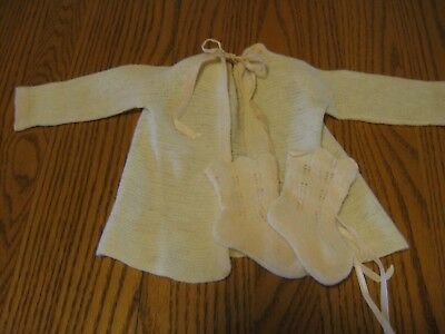 1940's 50's vintage  baby or doll sweater & booties Saks 5th Ave.