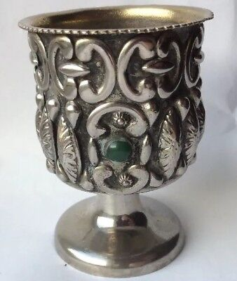 "White Metal Silver Embossed Small 2.5"" Cup Goblet Chalice Beaker Cabochon Stones"