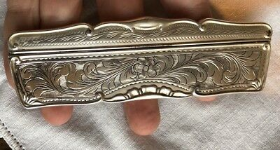 Very fine antique 800 SILVER STERLING ENGRAVED ETCHED HAIR COMB & CASE
