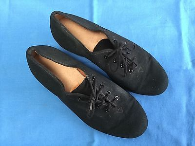 Black Canvas Lace-Up Style Character Dance Shoes - Size 3 (Youth)