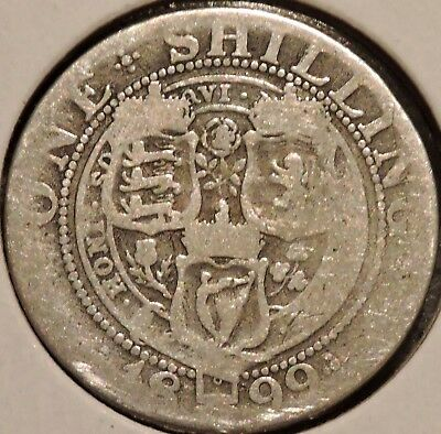 British Silver Shilling - 1899 - Queen Victoria - $1 Unlimited Shipping