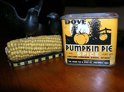 Rare Pumpkin Pie Spice Tin Dove Brand Corn Stalk Fence Orange Black Frank's Nice