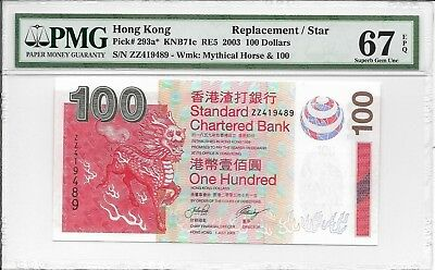 Standard Chartered Bank - $100, 2003. Replacement / Star. PMG 67EPQ.