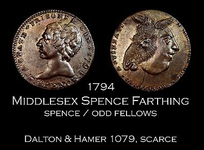 1794 Middlesex Spence Conder Farthing D&H 1079, scarce Unc